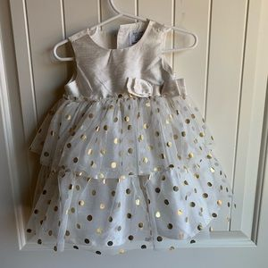 Carter's special occasion ivory/gold tule dress